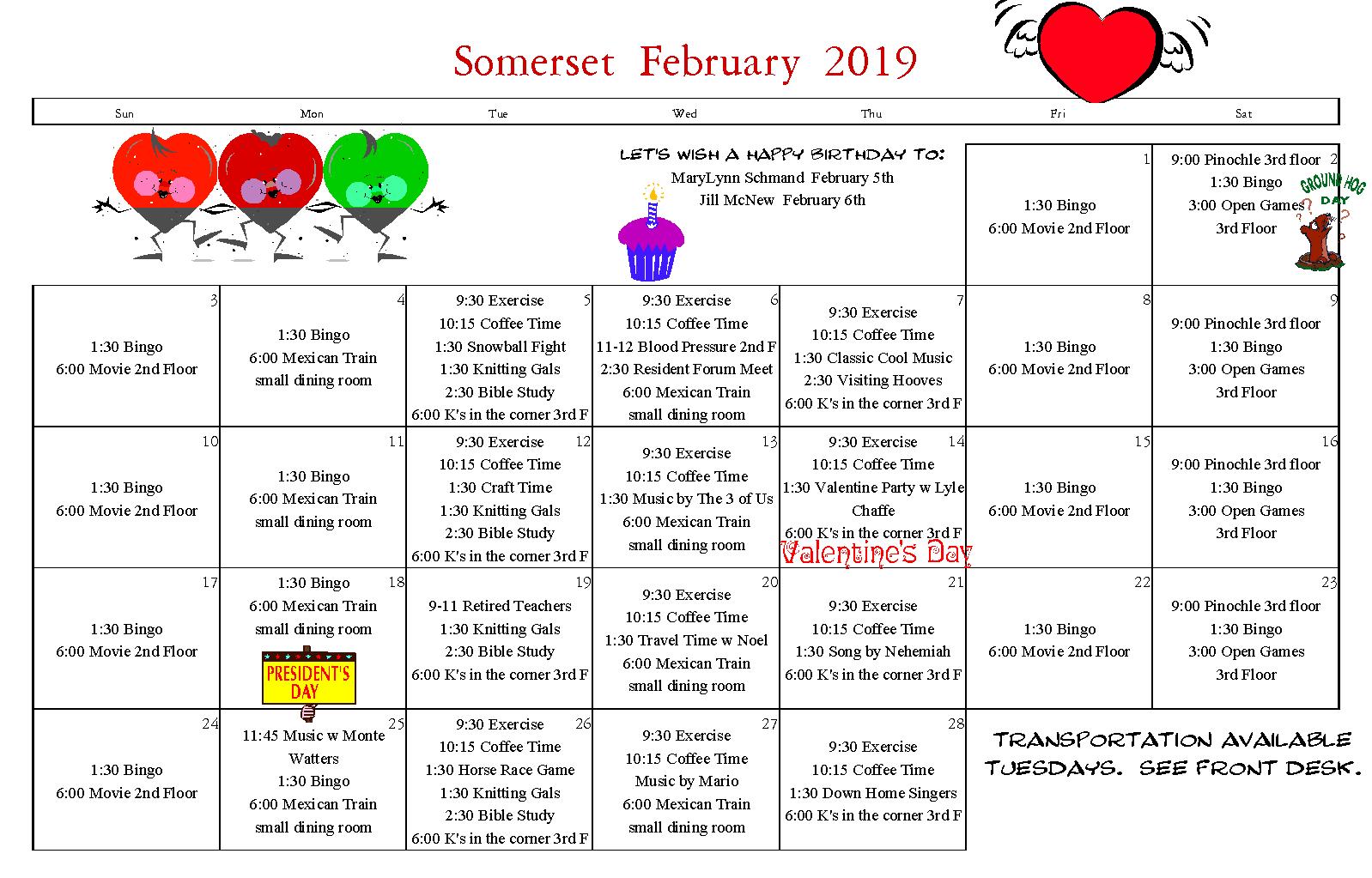 Senior Activity Calendar For February 2019 Senior Calendar February 2019   Somerset Retirement Home and